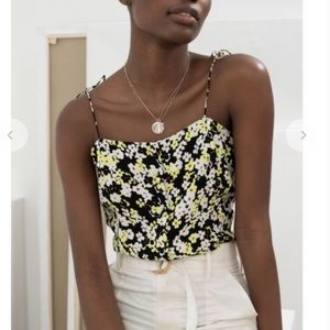 & other stories floral cami top in yellow